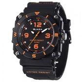 捷卡 JAGA 冷光照明 指針錶 男錶 運動錶 學生錶 軍錶 方形 石英錶 AQ934-AI 黑橘