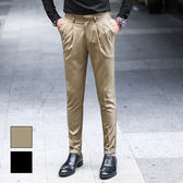 男 素面/窄版/西裝褲/窄管褲 L AME CHIC 微刺繡褲腳反摺微彈修身西裝褲【EBT092101】