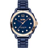 Coach Dress Ladies Analog 陶瓷腕錶-藍/34mm CO14502753