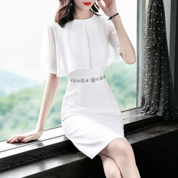 修身洋裝 雪紡連身裙 S-2XL氣質女神範收腰顯瘦OL拼接包臀裙子H455.9209 1號公館