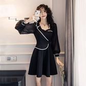 洋裝宴會禮服女神款網紅穿搭單品新款西服領氣質顯瘦假兩件套黑色連衣裙8671T364.胖胖唯依