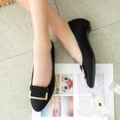低跟鞋.MIT韓版簡約氣質金屬扣環低跟包鞋.白鳥麗子