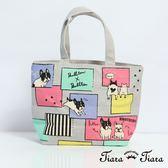 【Tiara Tiara】Bullton法鬥塗鴉風手提袋 帆布袋(灰)