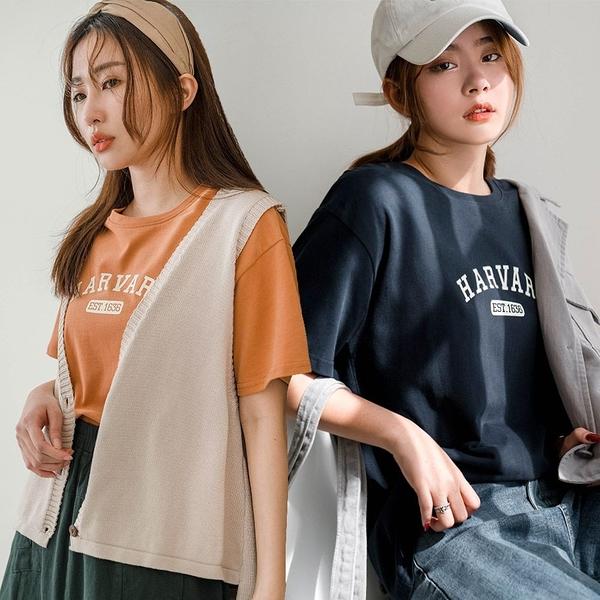 現貨-MIUSTAR HARVARD膠印高磅棉質上衣(共3色)【NJ0001】