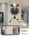 北歐鹿頭掛牆鐘表掛鐘客廳現代簡約創意輕奢網紅時尚家用時鐘大氣 夢幻小鎮