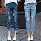 【QV1901】魔衣子-破洞寬鬆直筒九分牛仔褲