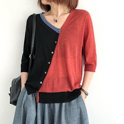 不規則拼色外套 V領七分袖針織衫 短款針織開衫/4色-夢想家-0330