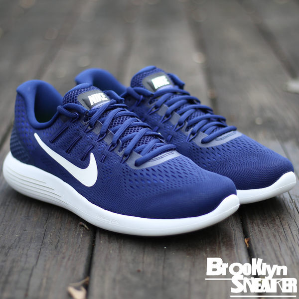 Nike LUNARGLIDE 8 白底 深藍網布 慢跑鞋 輕量 男 (布魯克林) 2017/3月 843725-404