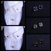 韓版飾品水晶胸針胸花韓版正方形鑲鑽小領針領扣女襯衫衣領夾男   提拉米蘇