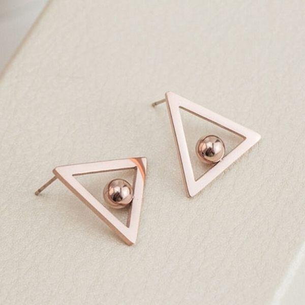 316L醫療鋼 幾何空心三角形小圓珠 耳環耳釘針-玫瑰金 防抗過敏