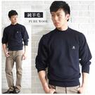 【大盤大】N2-828 深藍 現貨 口袋 半高領純羊毛 休閒毛衣 圓領套頭毛衣 長袖 彈性正式 辦公機關