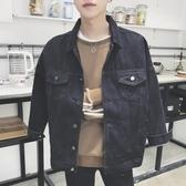 丹寧春季chic牛仔外套男大碼韓版休閒帥氣夾克衫青少年寬鬆牛仔衣bf風 藍嵐