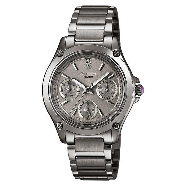 CASIO SHEEN系列 極簡典雅水晶三眼鑽錶-鐵灰