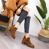 英倫馬丁靴 粗跟短靴韓版百搭高跟靴子 單靴