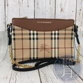 BRAND楓月 BURBERRY 經典格紋 防刮皮革 扁平 鍊包 側背包 PONCH 手拿包
