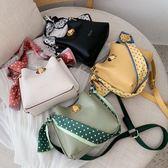 高級感小包包女新款潮韓版洋氣絲巾單肩包時尚百搭斜挎水桶包