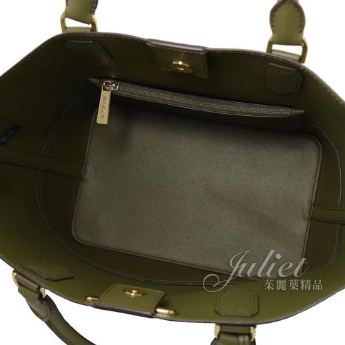 茱麗葉精品【全新現貨】MICHAEL KORS TRISTA 經典LOGO手提兩用托特造型包.綠