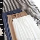 白色針織闊腿褲女春夏季新款寬松顯瘦垂感高腰雪紡直筒休閒褲子女 蘿莉新品