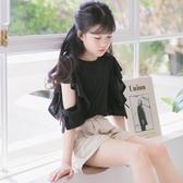 女童黑色短袖t恤半截袖個性潮上衣親子裝