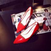中跟鞋 黑色高跟鞋細跟韓版尖頭拼接女鞋夏款單鞋子秋鞋《小師妹》sm1999