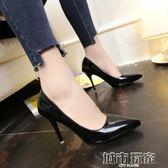 大碼女鞋41-43特大號高跟鞋女秋5-7cm性感偽娘細跟尖頭單鞋10公分 城市玩家