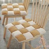 日式椅子坐墊格子凳子屁股墊加厚餐椅墊【少女顏究院】