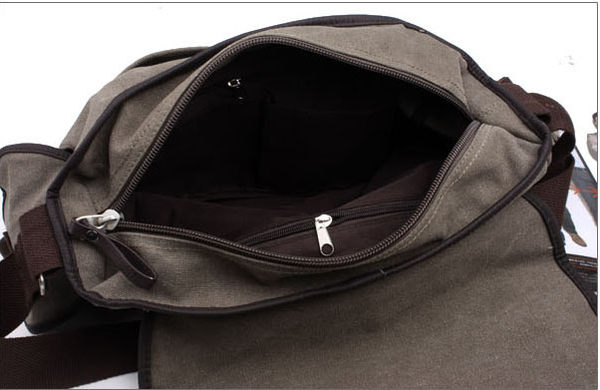 PocoPlus 新款韓版潮流男士單肩背包 休閒帆布斜跨包中學生書包 郵差包 B1241