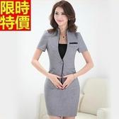 職業套裝商務面試-時尚端莊顯瘦修身短袖女制服3色67x14【巴黎精品】
