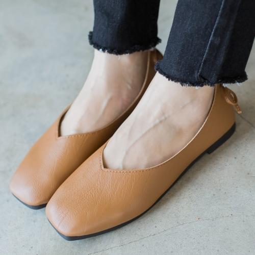 平底鞋.百搭復古蝴蝶結方頭包鞋.白鳥麗子