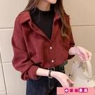 襯衫 燈芯絨襯衫女長袖2021年春季外穿韓版寬鬆磨毛假兩件上衣疊穿襯衣 源治良品