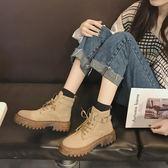 2019秋冬新款粗跟復古帥氣馬丁靴女系帶時尚休閒英倫風短靴女靴子
