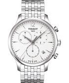 TISSOT 天梭 Tradition 經典復刻計時手錶-銀/42mm T0636171103700