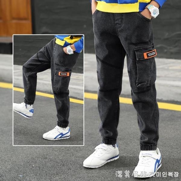男童牛仔褲2021年春款新款兒童褲子中大童男孩春秋加絨長褲春裝潮 美眉新品