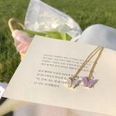 蝴蝶項鍊女簡約氣質鎖骨鍊百搭吊墜飾品【倪醬小舖】