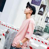 夏季短袖T恤男港風學生青少年bf港風五分袖ins薄款七分袖ulzzang 時尚潮流