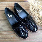 漆皮流蘇樂福鞋  鏡面真皮 超大流蘇懶人鞋 台灣製真皮手工鞋 低跟鞋 鏡面黑色LaoMeDea