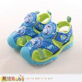 男童鞋 POLI波力正版護趾閃燈運動涼鞋 魔法Baby
