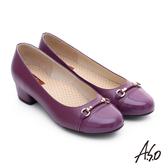 A.S.O 3E舒活寬楦 全牛皮飾帶窩心奈米低跟鞋  紫紅