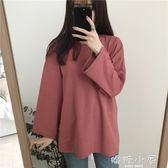 純色長袖T恤女秋季新款韓版寬鬆百搭顯瘦打底衫中長款學生上衣  嬌糖小屋
