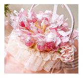 幸福朵朵【草莓甜筒冰淇淋軟糖x50份+小提籃x1個】二次進場/送客喜糖/情人節/婚禮小物