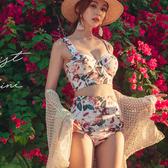 比基尼 比基尼小胸性感三點式鋼托聚攏高腰遮肚修身顯瘦女分體泳衣bikini