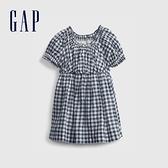 Gap嬰兒 清爽格紋短袖連衣裙 681731-藍色方格