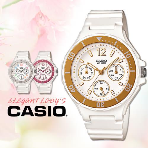 CASIO手錶專賣店 卡西歐 LRW-250H-9A1 女錶 三眼指針表 膠質錶帶 金框 可旋轉式錶圈 100米防水
