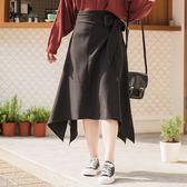 Poly Lulu 質感側綁結不規則中長裙-黑【95260081】