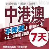 【TEL25】中港澳上網卡 7日 不限流量不降速 4G上網 吃到飽上網SIM卡