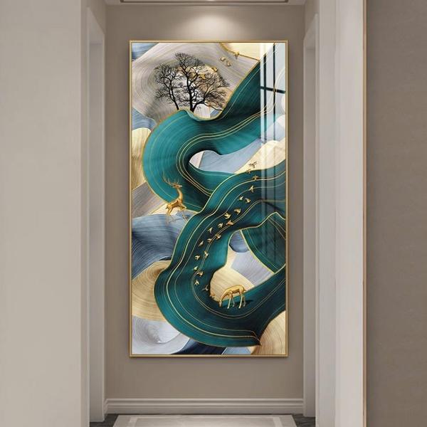 現代簡約玄關裝飾畫抽象過道走廊壁畫輕奢晶瓷豎版牆畫線條金箔畫MBS「時尚彩紅屋」