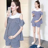 休閒長褲 套裝時尚夏季潮媽短袖格子拼接上衣夏天孕婦兩件套 GB2250『優童屋』