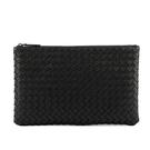 【BOTTEGA VENETA】編織羊皮中款手拿包/收納包(黑色) 256400 V0010 1000