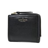 美國正品 KATE SPADE 銀字荔枝紋對開釦式短夾-黑色【現貨】
