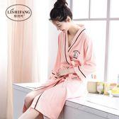 睡袍女春秋棉薄款性感睡衣夏季可愛七分袖簡約長款日式浴袍夏天